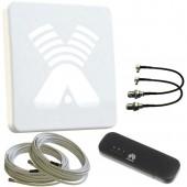 Комплект для усиления 3G/4G: Антенна Agata F MIMO, модем, кабель, переходники