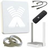 Комплект для усиления 3G/4G: Антенна Agata F MIMO, модем, кабель, переходники, Wi-Fi роутер