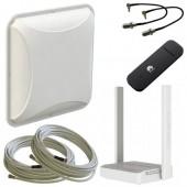 Комплект для усиления 3G/4G: Антенна MIMO 15 dB, модем, кабель, переходники, Wi-Fi роутер