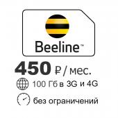 Интернет 100 Гб в 3G и 4G Билайн 450 р/мес
