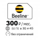 Интернет 50 Гб в 3G и 4G Билайн 300 р/мес